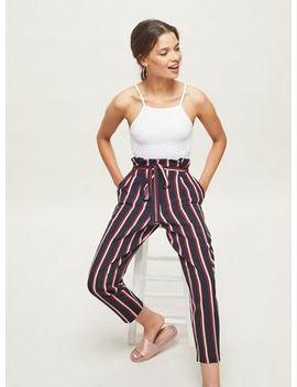 Miss Selfridge   Petite Burgundy Striped Paperbag Trousers by Miss Selfridge