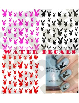 Set Water Decals Play Boy Rabbit Nail Nail Art Stickers Tattoo Stickers In 3 Variants Of Color by Aleworldstickers