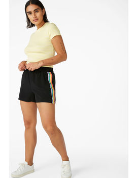 Rainbow Side Stripe Shorts by Monki