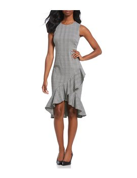Houndstooth Plaid Sleeveless Ruffle Hem Midi Dress by Generic