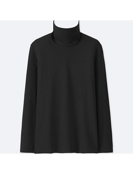 Women Compact Cotton Turtle Neck Long Sleeve T Shirt by Uniqlo