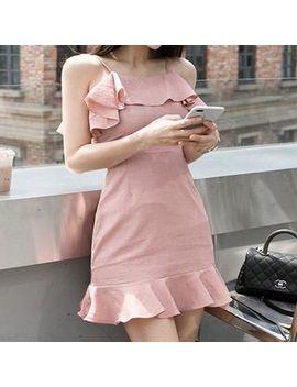 Ruffle Trim Strappy Sheath Dress by Ismy