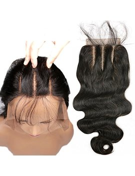 Lace Closure 3 Part 4x4 Body Wave Human Hair Piece With Baby Hair Natural Black Color (8 Inch) by Preferred Hair