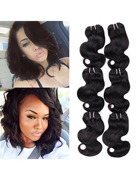 "Hanne 6 Pcs Brazilian Virgin Hair Body Wave 8"" Short Curly Hair Virgin Brazilian Hair Weaves 50 G/Pcs Human Hair Extensions by Hanne"