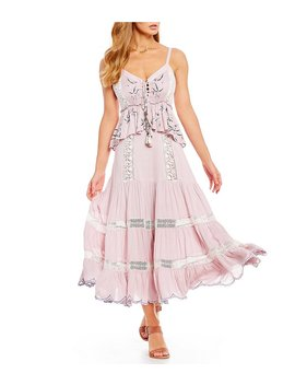 Embroidered Crochet Prairie Maxi Dress by Generic