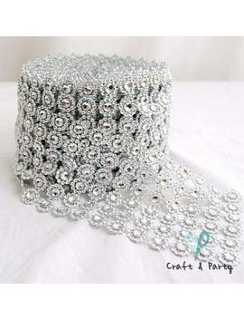 "Silver Diamond Flower Shape Mesh Wrap Roll Faux Rhinestone Crystal Ribbon 4"" X 10 Yards (30 Ft) by Craft & Party"