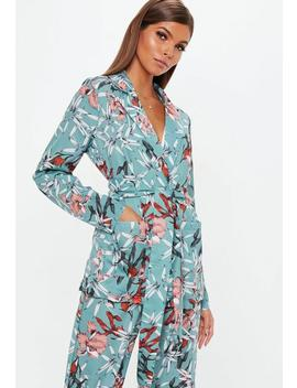 Green Floral Collared Tie Front Shirt by Missguided