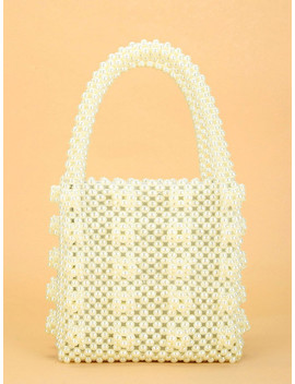 Faux Pearl Beaded Tote Bag by Sheinside