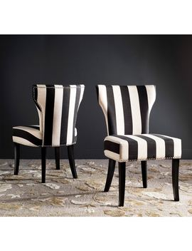 Safavieh Jappic Kd Black/ White Stripe Side Chairs (Set Of 2) by Safavieh