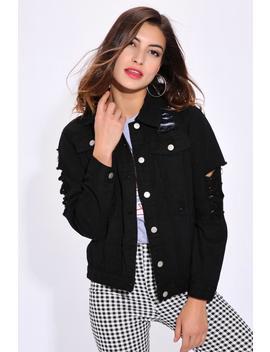 Black Oversized Ripped Denim Jacket by I Saw It First