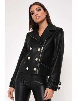 Black Pu Gold Button Biker Jacket by I Saw It First