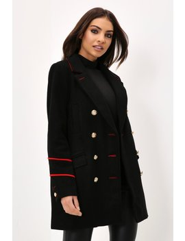 Black Long Line Military Coat by I Saw It First