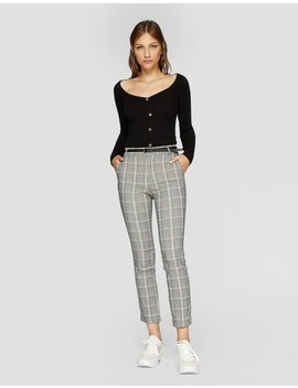 Plaid Dress Trousers With Belt by Stradivarius