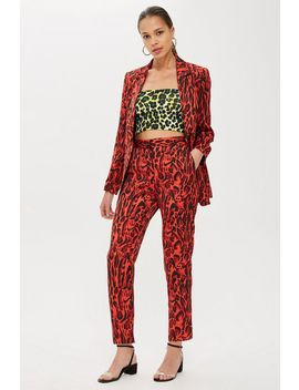 Red Leopard Print Suit by Topshop