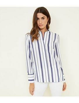 White And Blue Stripe Button Up Shirt by New Look