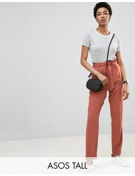 Asos Design Tall   Pantalon Carotte Tissé Avec Ceinture Obi by Asos Fr