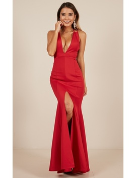 A Fine Line Maxi Dress In Red by Showpo Fashion