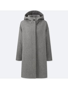 Women Light Weight Wool Blended Hooded Coat by Uniqlo