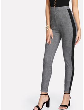 Shein Contrast Tape Side Plaid Tapered Pants by Shein