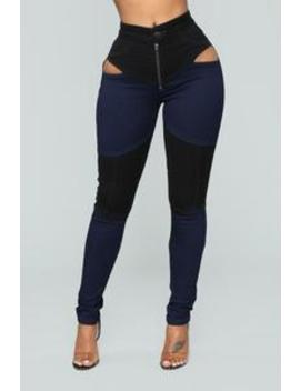 Open Heart Cutout High Rise Jeans   Black/Blue by Fashion Nova