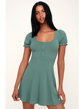 Hopscotch Sage Green Ribbed Short Sleeve Skater Dress by Lulu's