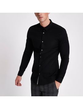 Black Muscle Fit Long Sleeve Shirt by River Island