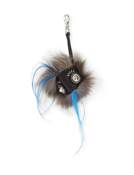 Fur Face Charm For Bag/Briefcase, Black/White by Neiman Marcus
