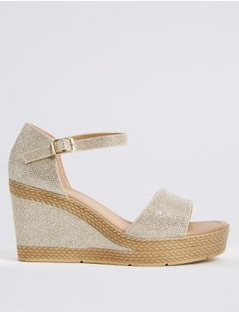 Wide Fit High Heel Two Band Sandals by Marks & Spencer