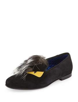 Monster Fur Evening Slipper, Black by Fendi