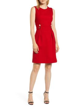 Button Detail Fit & Flare Dress by Anne Klein