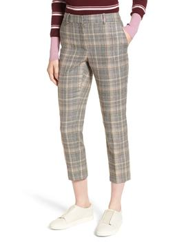 Plaid Slim Leg Crop Pants by Nordstrom Signature