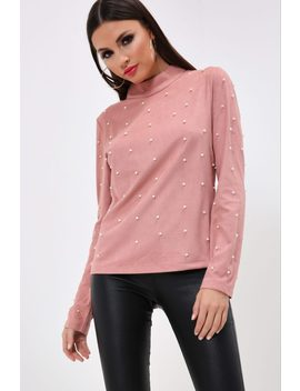 Rose Pearl Embellished High Neck Top by I Saw It First
