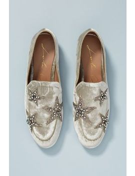 Lola Cruz Velvet Star Loafers by Lola Cruz