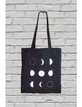 Moon Phases Tote Bag, Cotton Canvas Tote,  Gift For Her, Moon Tote Bag, Screen Printed by Urban Moon Studio