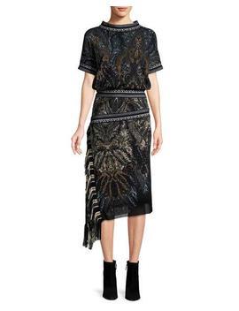 Paisley Print Tulle Blouson Dress W/ Asymmetric Fringe by Fuzzi