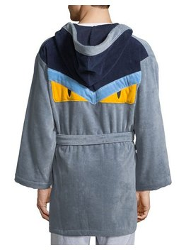 Monster Hooded Robe, Gray/Blue by Fendi