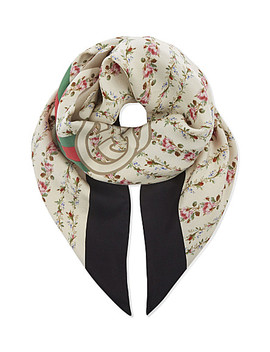 Web Stripe Silk Scarf by Gucci