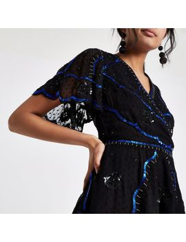 Black Embellished Wrap Top by River Island