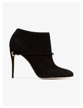 Women's Black Maurizio 105 Suede Leather Boots by Jennifer Chamandi