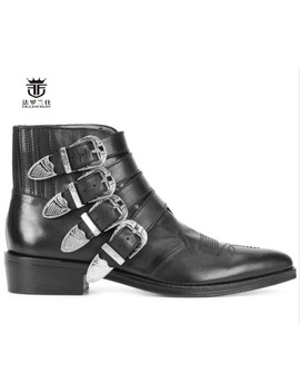 Fr.Lancelot High End Leather Boots Fashion Real Leather Boot Buckle Decoration Men Short Med Heel Rubber Sole Party Men's Boots by Fr.Lancelot