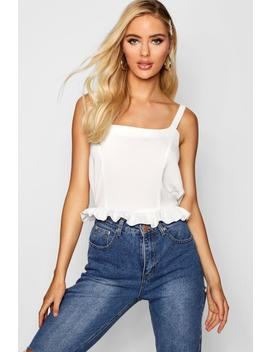 Square Neck Ruffle Woven Cami by Boohoo