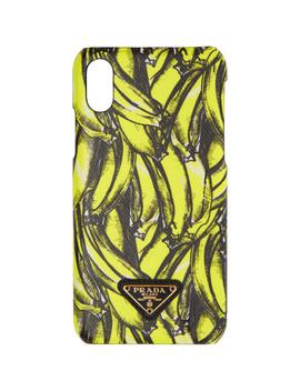 Black & Yellow Saffiano Banana I Phone X Case by Prada
