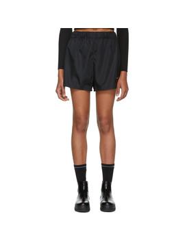 Black Nylon Sporty Shorts by Prada