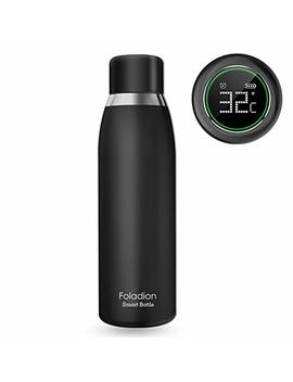 Foladion Smart Water Bottle, 500ml Stainless Steel Vacuum Insulated, Lcd Touch Screen, Temperature Indicator, Drinking Water Reminder, Keep Heat&Cold, Longer Battery Life, Fda Safty (Black) by Foladion