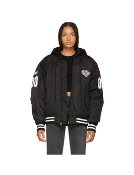Black Athletic Patch Bomber Jacket by Alexander Wang