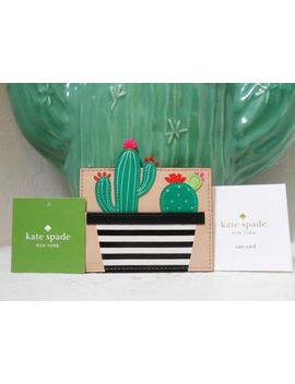 New Authentic Kate Spade Scenic Route Cactus Card Holder Leather Nwt $68 by Kate Spade