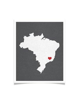 Brazil Map Custom Personalized Heart Print Hometown Wall Art Gift Souvenir República Federativa Do Brasil by Embie Design