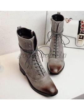 Lady Womens Faux Leather Square Toe Lace Up Block Heels Shoes Ankle Boots Zip* by Ebay Seller