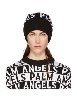 Black & White Logo Beanie by Palm Angels