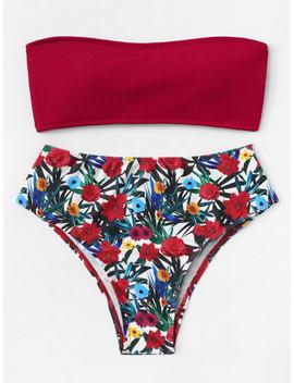 Floral Print Bandeau Bikini Set by Shein
